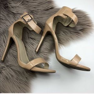 Baker EUC High Strappy Nude Heels Sandals 10 Fawn